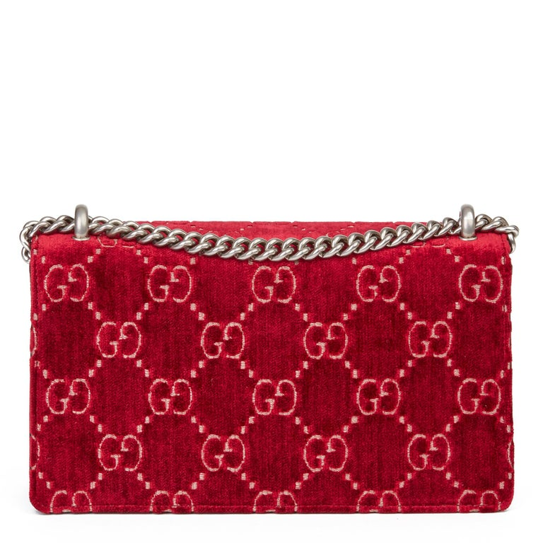 2020 Gucci Red GG Velvet & Black Aged Patent Calfskin Leather Small Dionysus For Sale 1