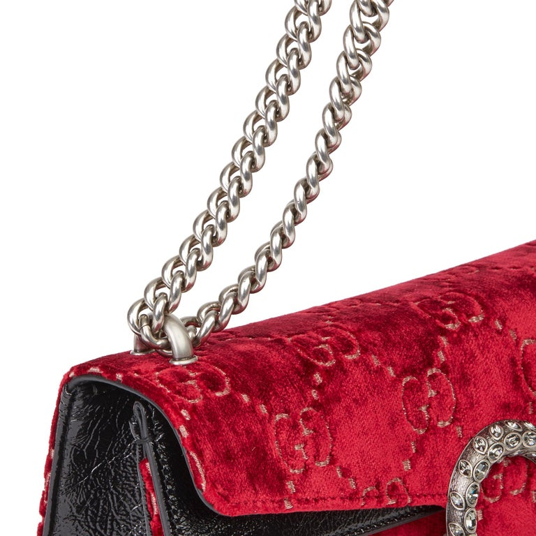 2020 Gucci Red GG Velvet & Black Aged Patent Calfskin Leather Small Dionysus For Sale 4