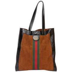 2020 Gucci Black Aged Patent Calfskin & Brown Suede Web Large Orphidia Tote
