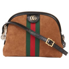 2020 Gucci Black Aged Patent Calfskin & Brown Suede Web Small Orphidia Bag