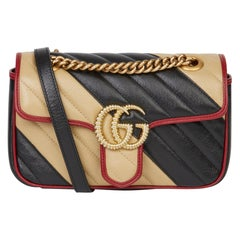 2020 Gucci Black Cream & Red Diagonal Quilted Aged Calfskin Leather Mini Marmont