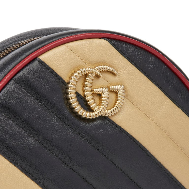 2020 Gucci Black, Cream & Red Diagonal Quilted Aged Calfskin Leather Mini Round  For Sale 1