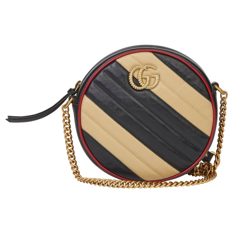 2020 Gucci Black, Cream & Red Diagonal Quilted Aged Calfskin Leather Mini Round  For Sale