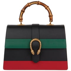 2020 Gucci Black, Green & Red Smooth Calfskin Large Dionysus Bamboo Top Handle