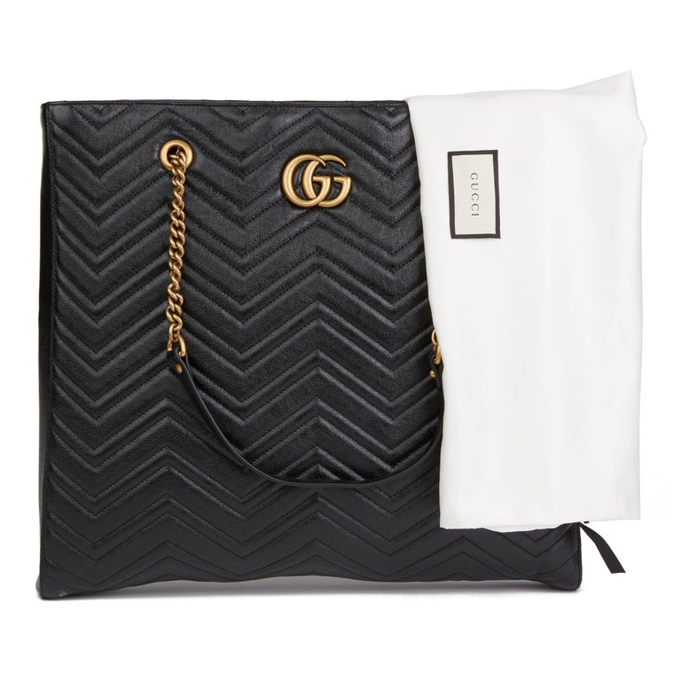 2020 Gucci Black Quilted Shiny Calfskin Leather Marmont Shoulder Tote  For Sale 8