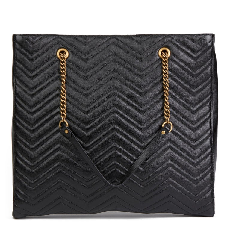 2020 Gucci Black Quilted Shiny Calfskin Leather Marmont Shoulder Tote  For Sale 1