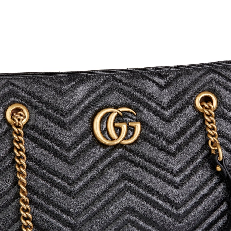 2020 Gucci Black Quilted Shiny Calfskin Leather Marmont Shoulder Tote  For Sale 3