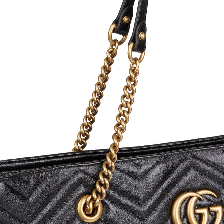 2020 Gucci Black Quilted Shiny Calfskin Leather Marmont Shoulder Tote  For Sale 4