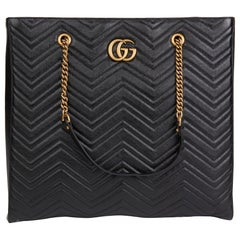 2020 Gucci Black Quilted Shiny Calfskin Leather Marmont Shoulder Tote