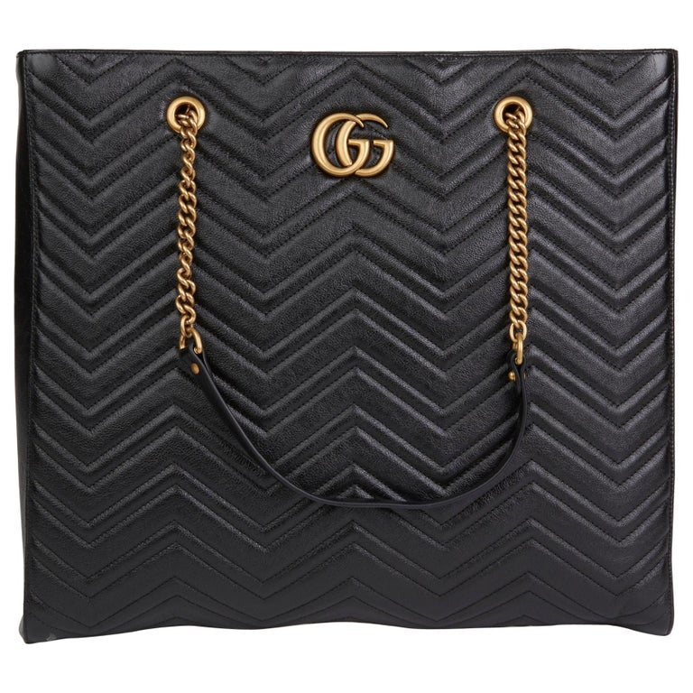 2020 Gucci Black Quilted Shiny Calfskin Leather Marmont Shoulder Tote  For Sale