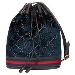 2020 Gucci Dark Blue GG Velvet & Black Pigskin Leather Web Bucket Bag