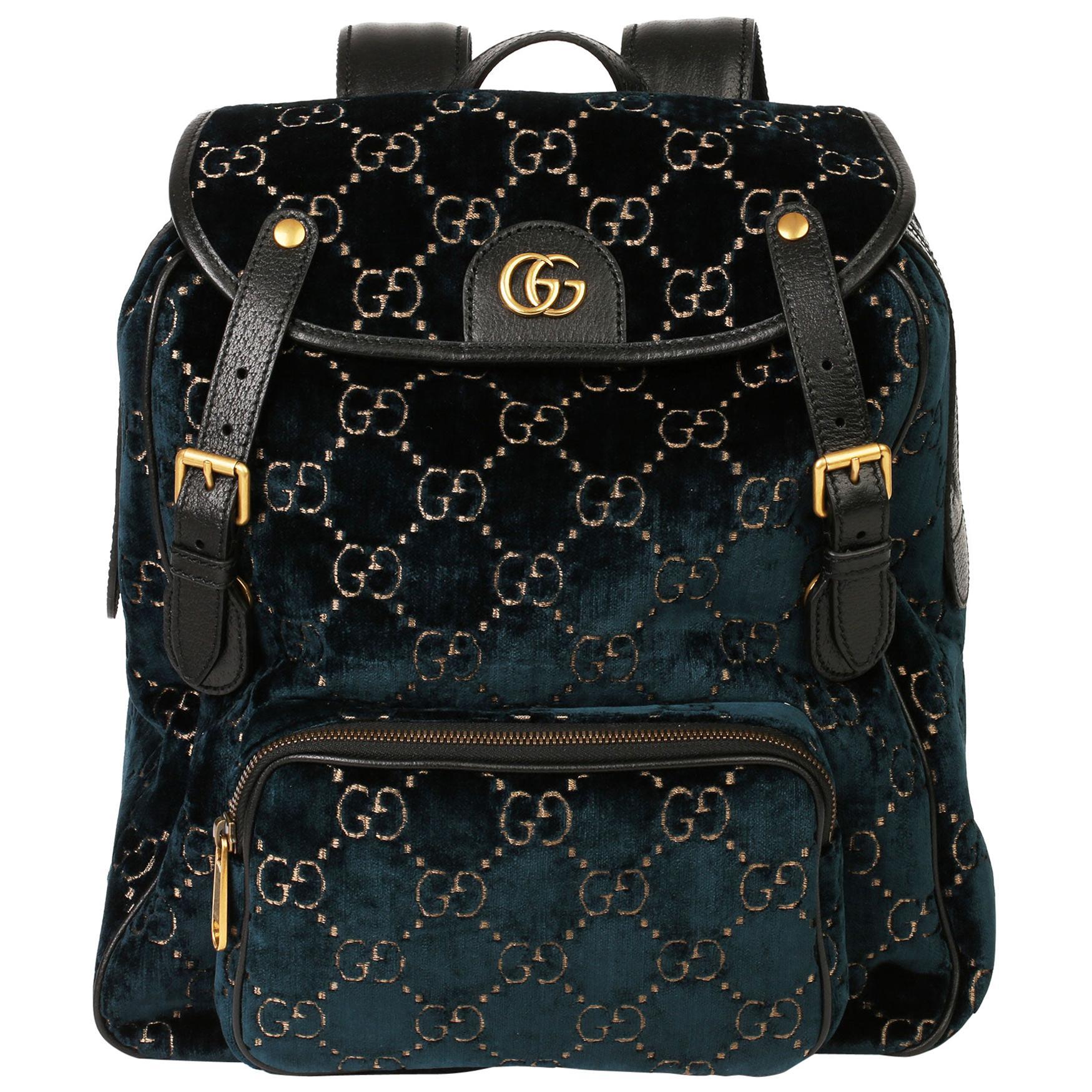 2020 Gucci Dark Blue GG Velvet & Black Pigskin Small Marmont Backpack