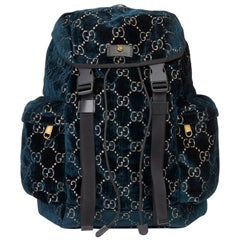 2020 Gucci Dark Blue GG Velvet Web Large Backpack