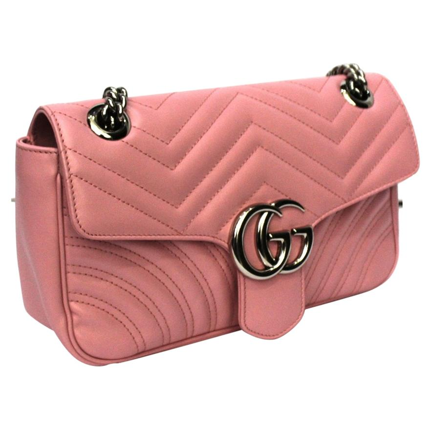 2020 Gucci Pink Leather Marmont 26 Bag
