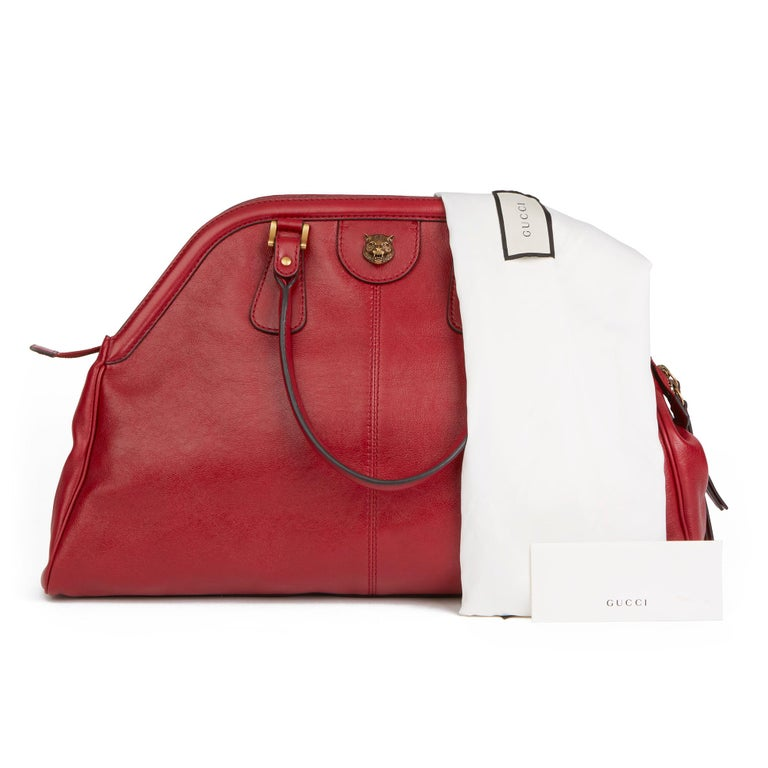 2020 Gucci Red Aged Calfskin Large Marmont Re (Belle) Tote  For Sale 8