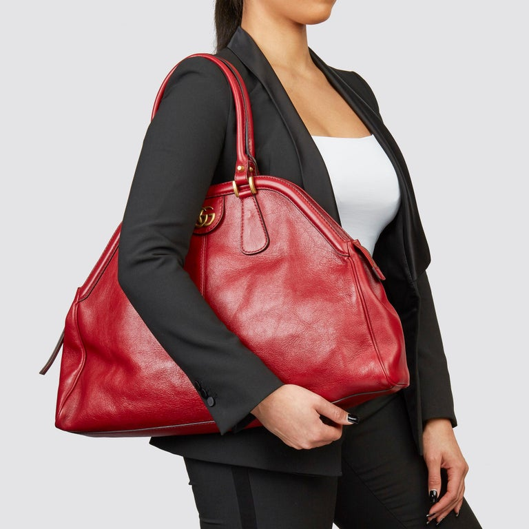 GUCCI Red Aged Calfskin Large Marmont Re (Belle) Tote  Xupes Reference: HB3604 Serial Number: 515937 585795 Age (Circa): 2020 Accompanied By: Gucci Dust Bag, Care Booklet  Authenticity Details: Date Stamp (Made in Italy) Gender: Ladies Type: Tote,