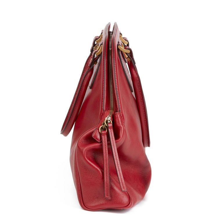 2020 Gucci Red Aged Calfskin Large Marmont Re (Belle) Tote  In New Condition For Sale In Bishop's Stortford, Hertfordshire