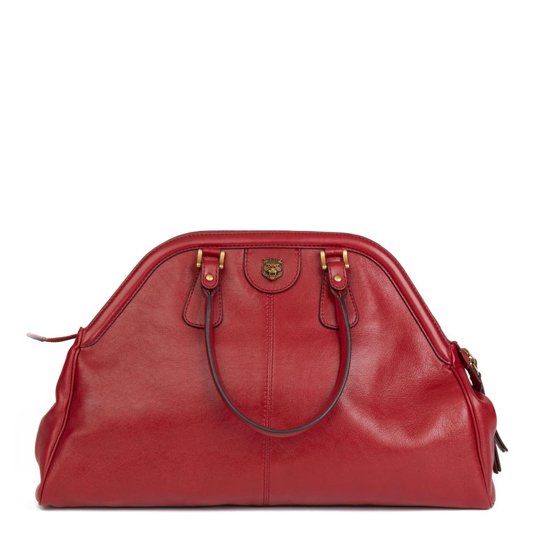 2020 Gucci Red Aged Calfskin Large Marmont Re (Belle) Tote  For Sale 1