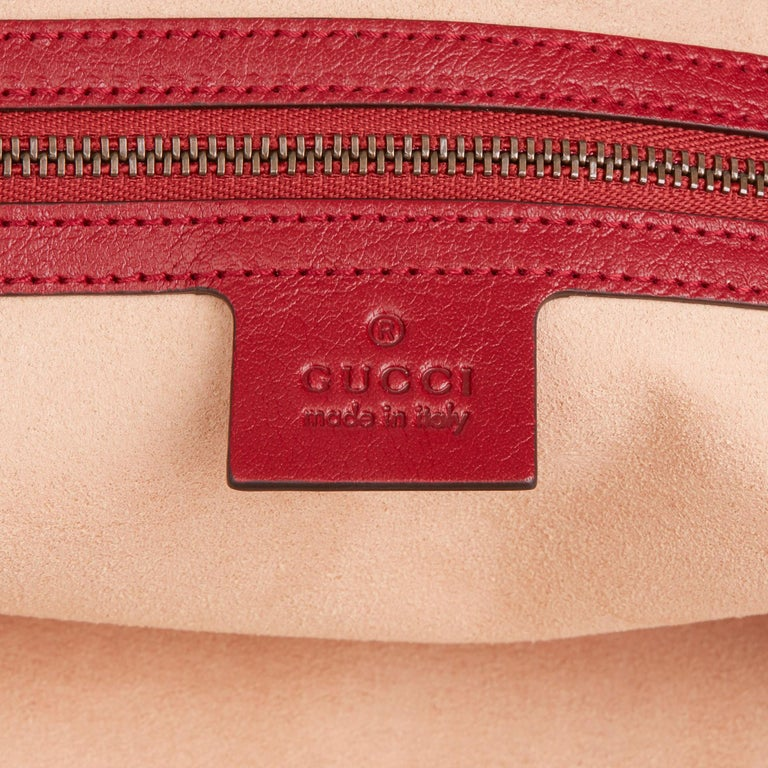 2020 Gucci Red Aged Calfskin Large Marmont Re (Belle) Tote  For Sale 5