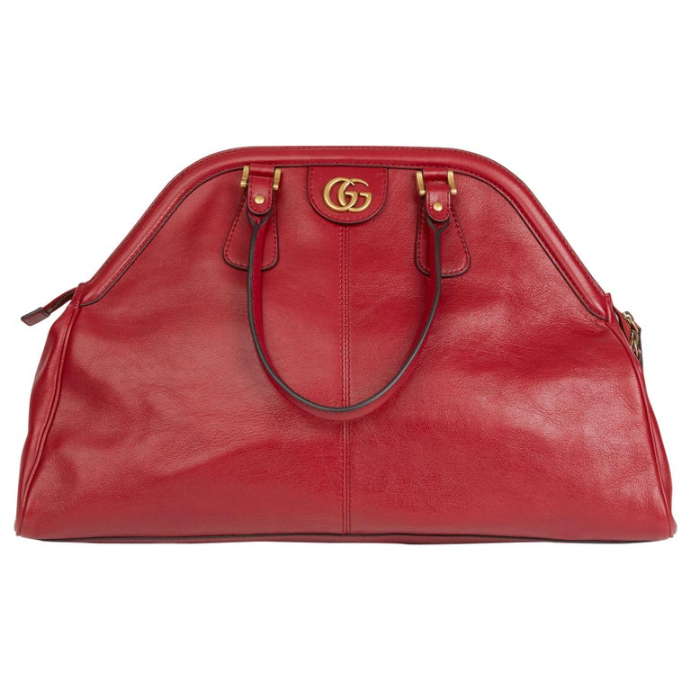 2020 Gucci Red Aged Calfskin Large Marmont Re (Belle) Tote  For Sale