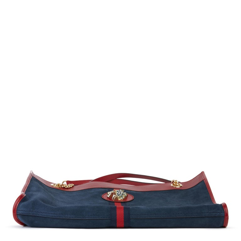 2020 Gucci Red Aged Calfskin Leather & Blue Suede Web Large Rajah Tote For Sale 5