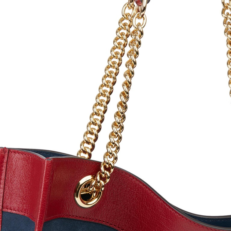 2020 Gucci Red Aged Calfskin Leather & Blue Suede Web Large Rajah Tote For Sale 7
