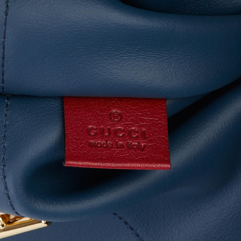 GUCCI Red Aged Calfskin Leather & Blue Suede Web Large Rajah Tote  Xupes Reference: HB3499 Serial Number: 537219 498879 Age (Circa): 2020 Accompanied By: Gucci Dust Bag Authenticity Details: Date Stamp (Made in Italy) Gender: Ladies Type: Shoulder,