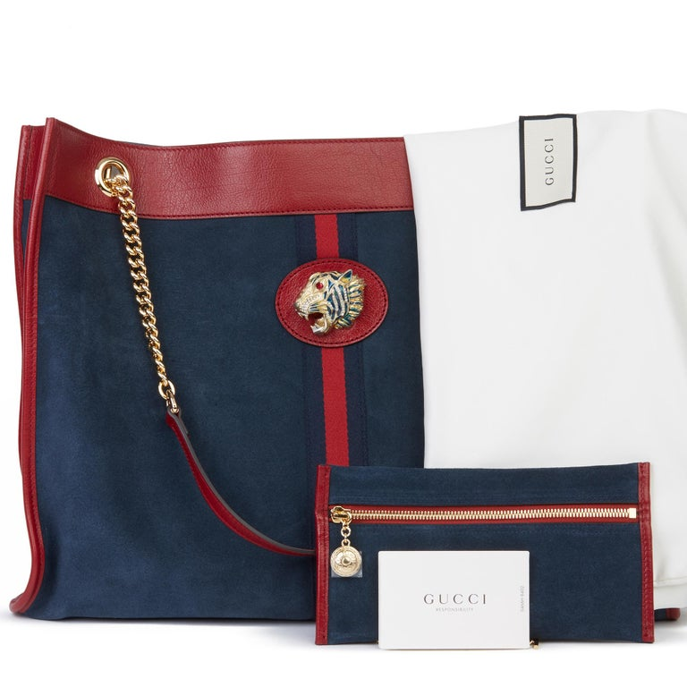 Women's or Men's 2020 Gucci Red Aged Calfskin Leather & Blue Suede Web Large Rajah Tote For Sale