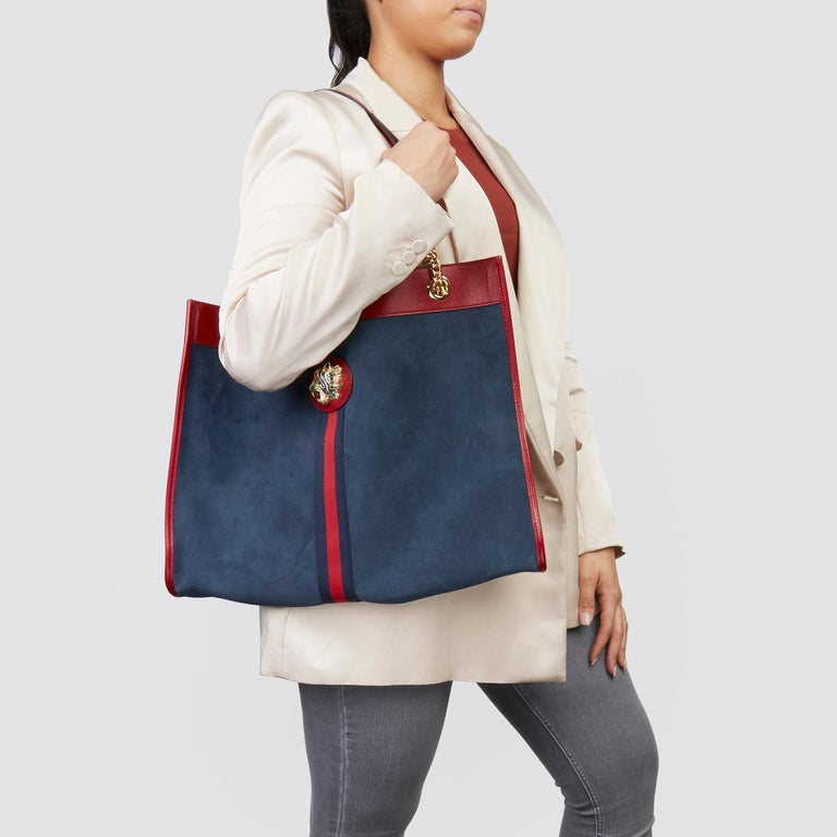 2020 Gucci Red Aged Calfskin Leather & Blue Suede Web Large Rajah Tote For Sale 1