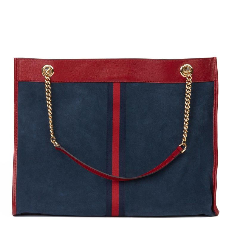 2020 Gucci Red Aged Calfskin Leather & Blue Suede Web Large Rajah Tote For Sale 4