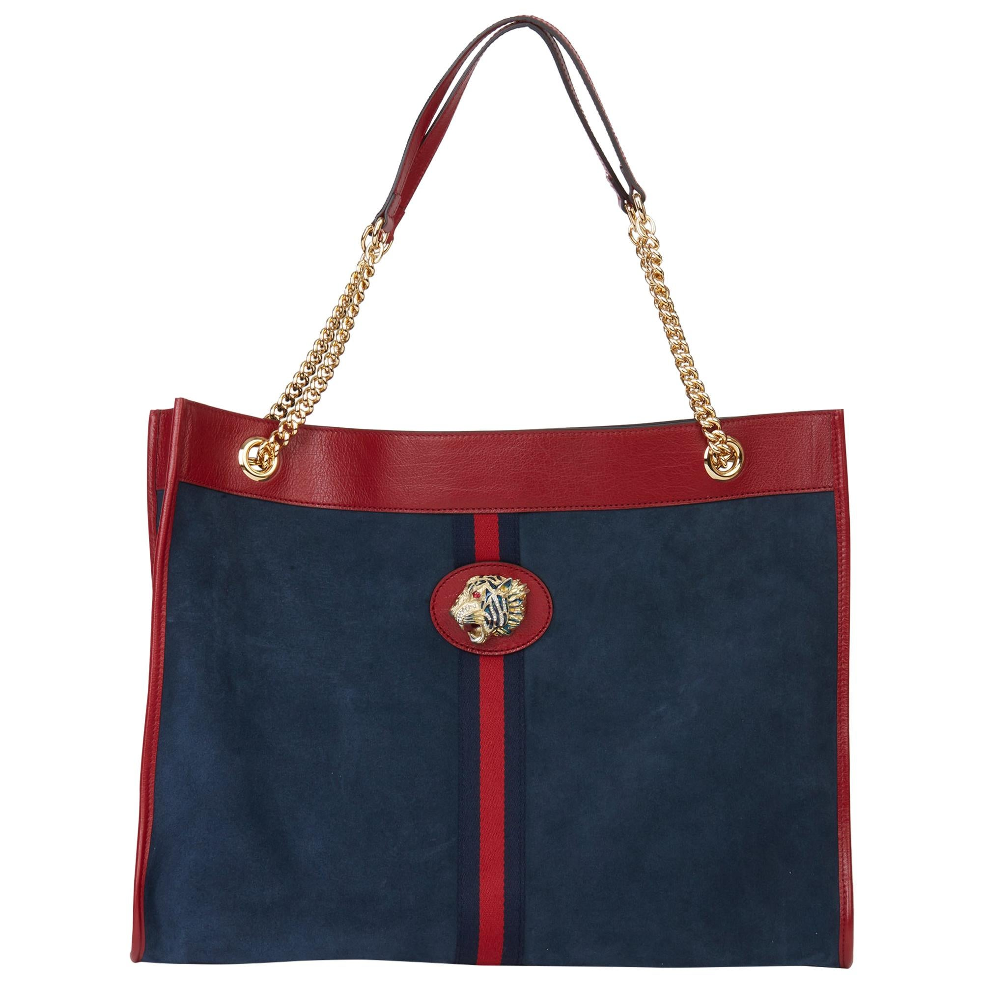 2020 Gucci Red Aged Calfskin Leather & Blue Suede Web Large Rajah Tote