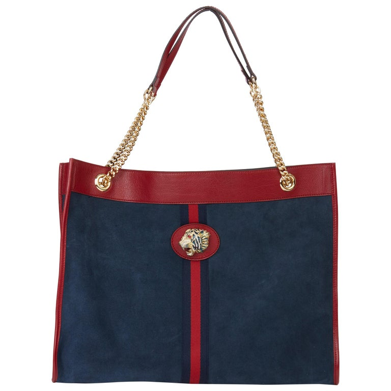 2020 Gucci Red Aged Calfskin Leather & Blue Suede Web Large Rajah Tote For Sale