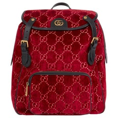 2020 Gucci Red GG Velvet & Black Pigskin Small Marmont Backpack