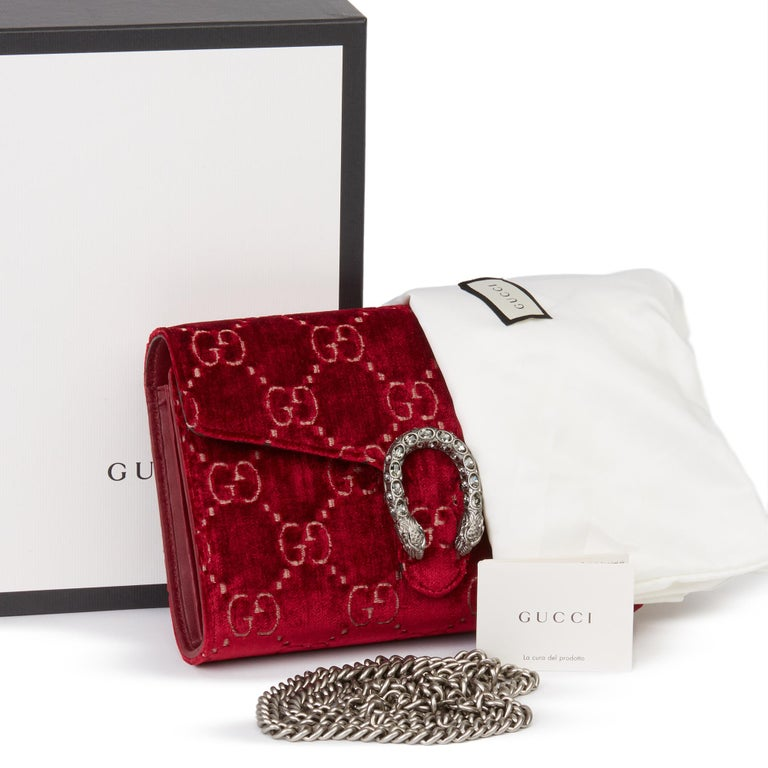2020 Gucci Red GG Velvet & Calfskin Leather Dionysus Wallet-on-Chain For Sale 8