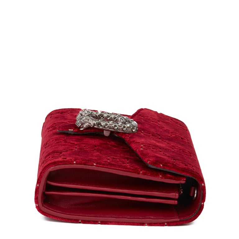 Women's 2020 Gucci Red GG Velvet & Calfskin Leather Dionysus Wallet-on-Chain For Sale