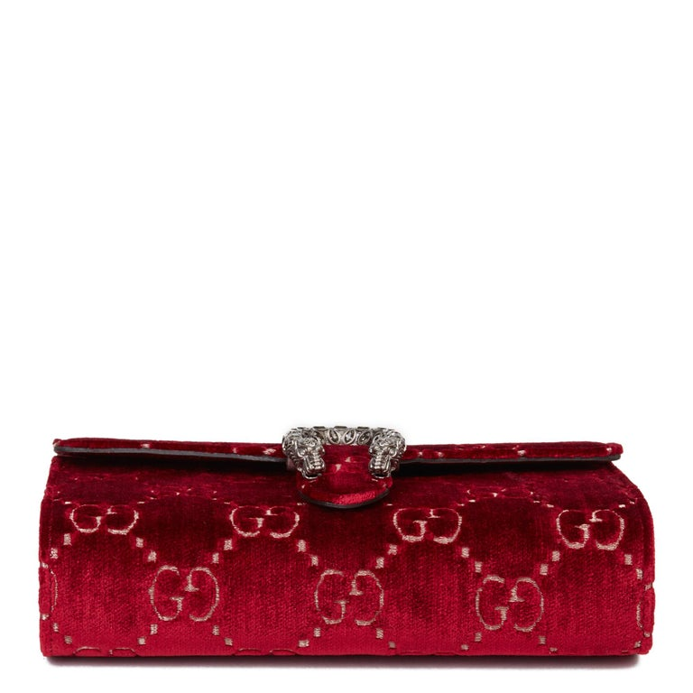 2020 Gucci Red GG Velvet & Calfskin Leather Dionysus Wallet-on-Chain For Sale 1