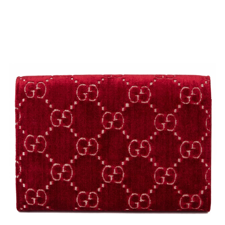 2020 Gucci Red GG Velvet & Calfskin Leather Dionysus Wallet-on-Chain For Sale 2