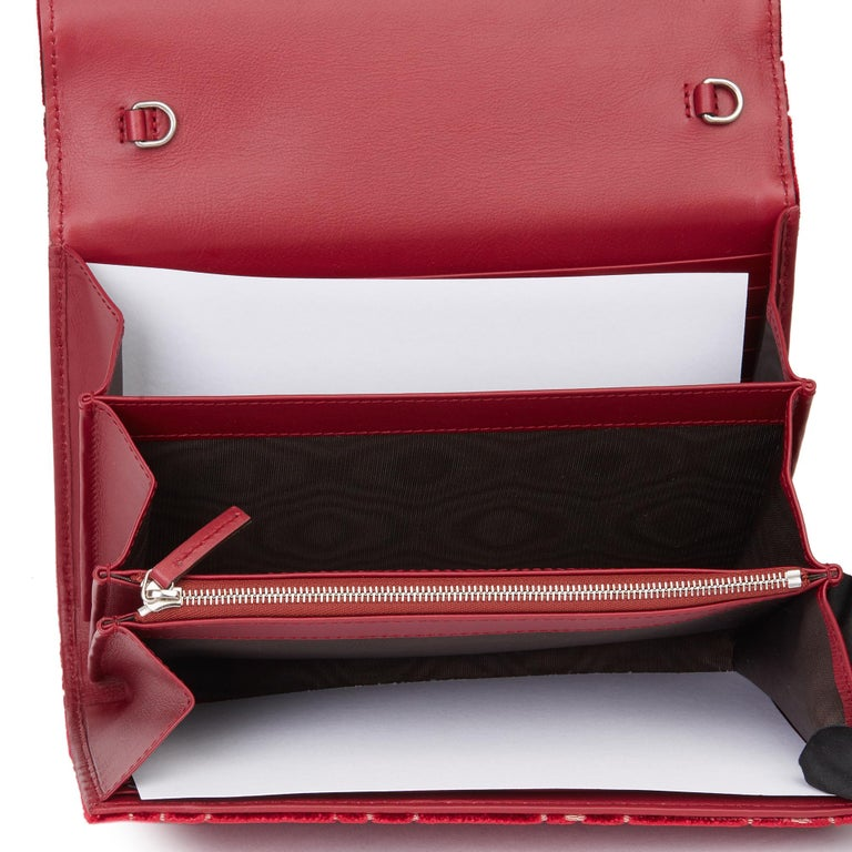2020 Gucci Red GG Velvet & Calfskin Leather Dionysus Wallet-on-Chain For Sale 5