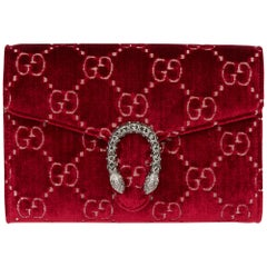 2020 Gucci Red GG Velvet & Calfskin Leather Dionysus Wallet-on-Chain