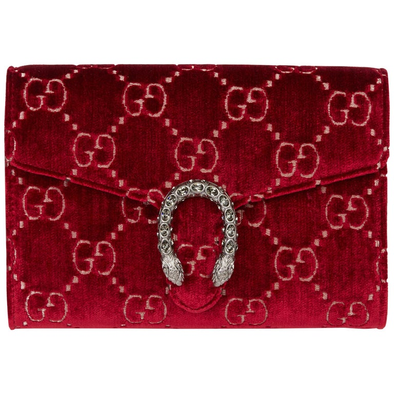 2020 Gucci Red GG Velvet & Calfskin Leather Dionysus Wallet-on-Chain For Sale