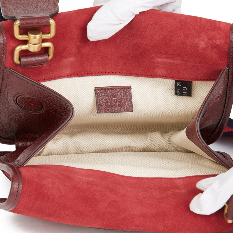 2020 Gucci Red Suede & Burgundy Pigskin, Navy Web Small Messenger Bag 7