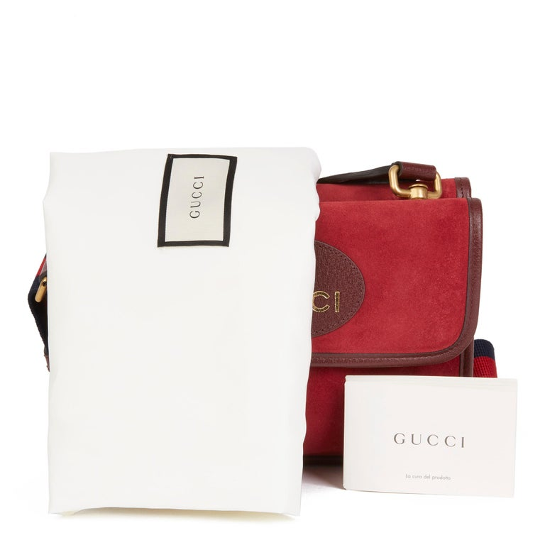 2020 Gucci Red Suede & Burgundy Pigskin, Navy Web Small Messenger Bag 8