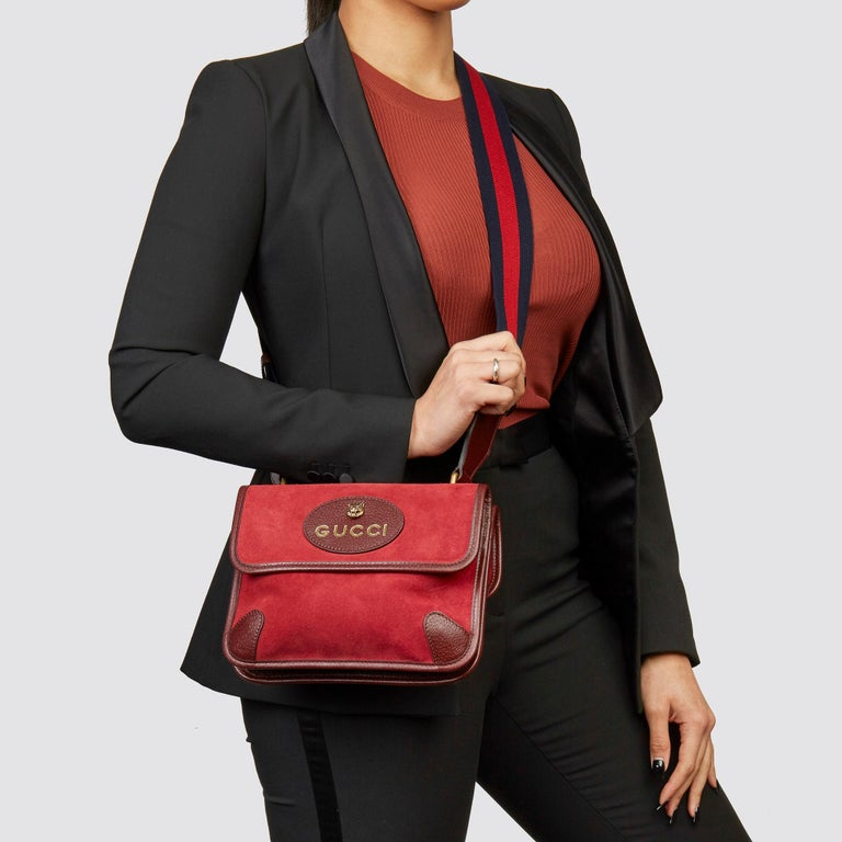 GUCCI Red Suede & Burgundy Pigskin, Navy Web Small Messgener Bag   Xupes Reference: HB3591 Serial Number: 501050525040 Age (Circa): 2020 Accompanied By: Gucci Dust Bag, Care Booklet Authenticity Details: Date Stamp (Made it Italy)  Gender:
