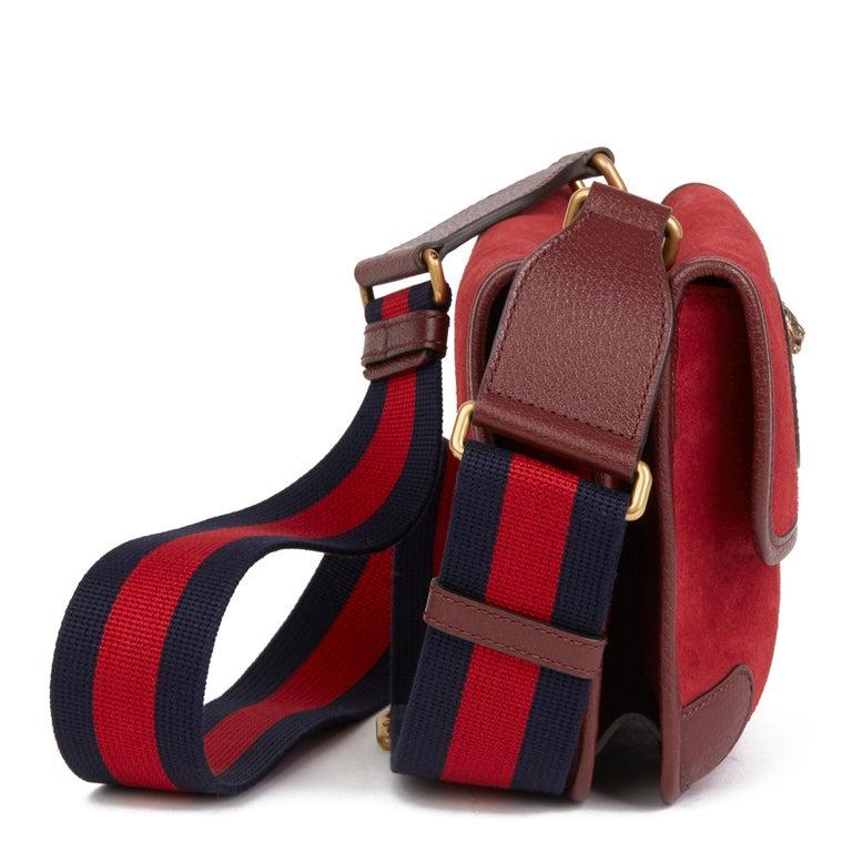 2020 Gucci Red Suede & Burgundy Pigskin, Navy Web Small Messenger Bag In New Condition In Bishop's Stortford, Hertfordshire