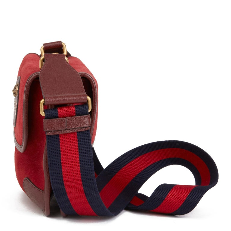 Women's or Men's 2020 Gucci Red Suede & Burgundy Pigskin, Navy Web Small Messenger Bag