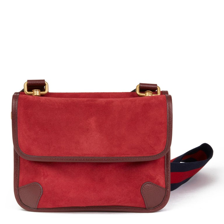 2020 Gucci Red Suede & Burgundy Pigskin, Navy Web Small Messenger Bag 1