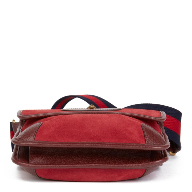 2020 Gucci Red Suede & Burgundy Pigskin, Navy Web Small Messenger Bag 2