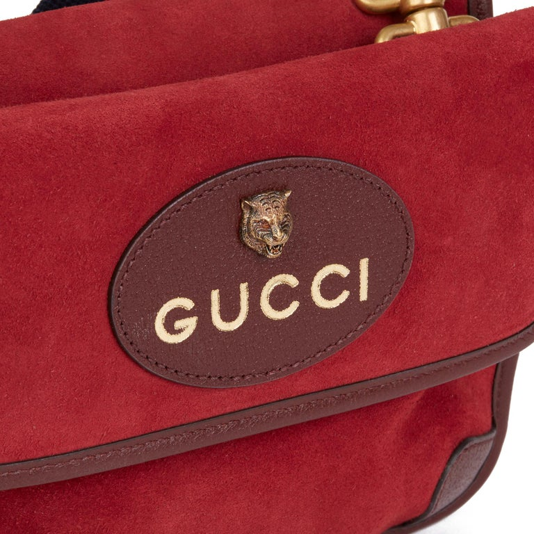 2020 Gucci Red Suede & Burgundy Pigskin, Navy Web Small Messenger Bag 3