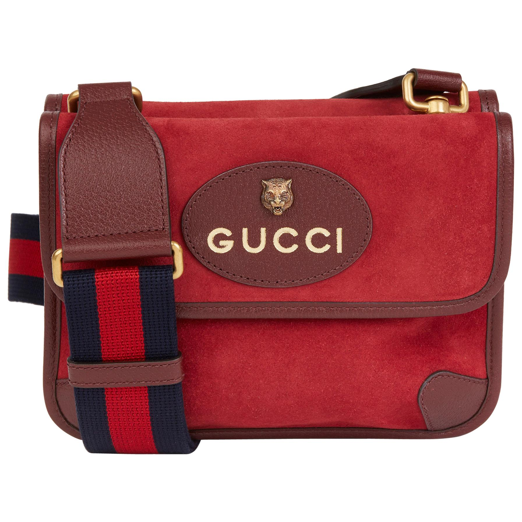 2020 Gucci Red Suede & Burgundy Pigskin, Navy Web Small Messenger Bag