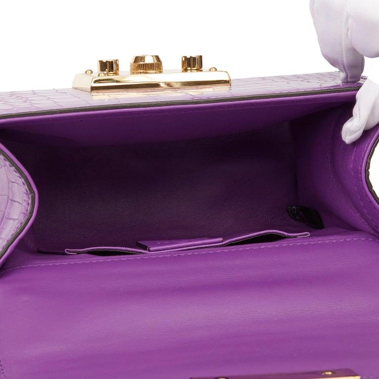 2020 Gucci Violet Cyclamen Matte Alligator Leather Small Padlock Shoulder Bag For Sale 5